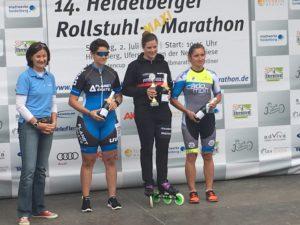 Siegerehrung beim Heidelberger Rollstuhlmarathon 2017